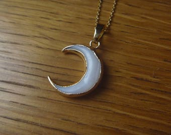 Moon necklace Horn Gold Plated over Brass