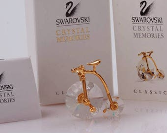 SWAROVSKI Crystal Memories-Gold Penny Farthing Bicycle-Swarovski Vintage Crystal Bike-Gold Vintage Bike-Swarovski Crystals-SilverBayCrystals