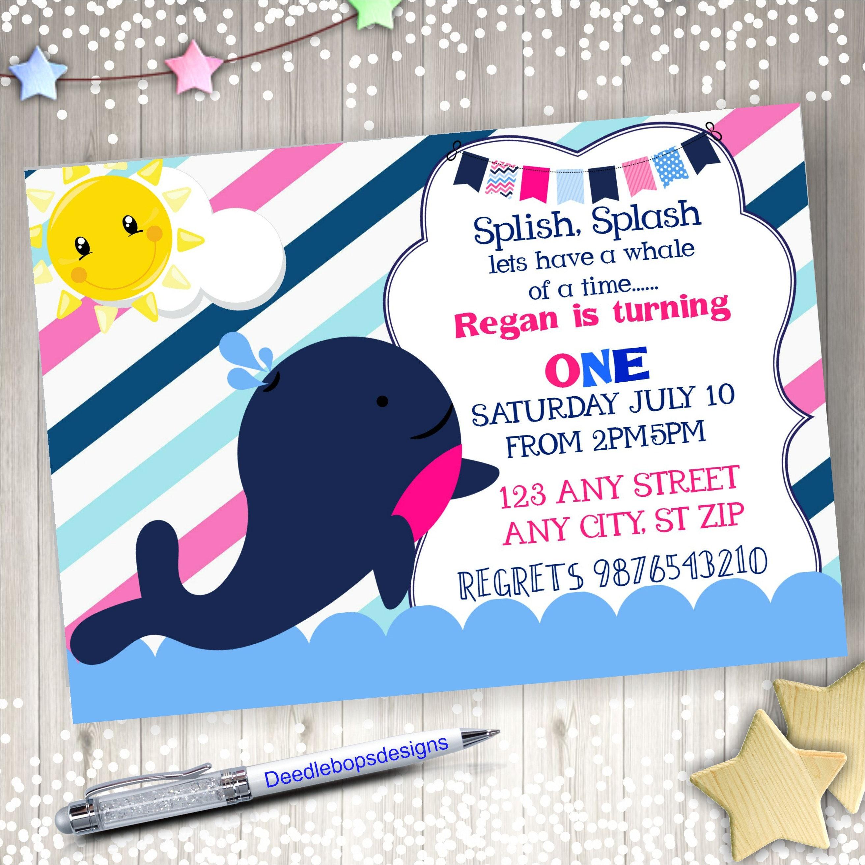 Nautical Birthday Party Invitation - Baby Shower Invite - Whale ...