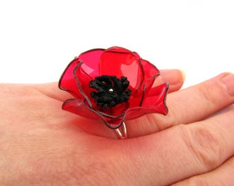 Red poppy ring Red flower ring Statement red ring Summer party ring Romantic jewelry for girlfriend Red jewelry for girlfriend Bold jewelry