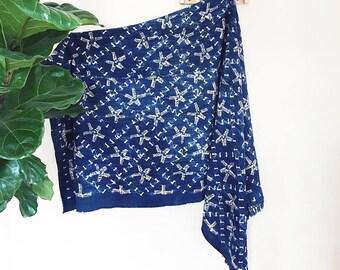 Alma | Vintage Indigo Star Pattern | Handmade African mud cloth