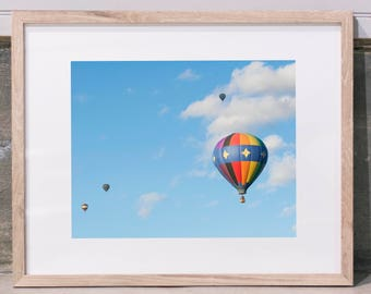 Rainbow Hot Air Balloon Framed Print