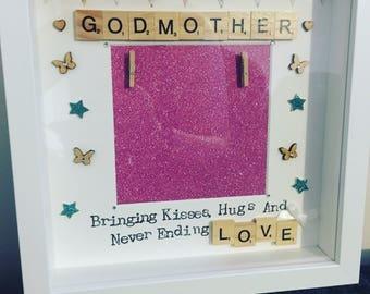 Handmade gift, god mother frame, god mother gift, god mother box frame