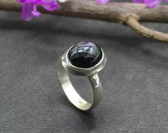 Natural Black Onyx Oval Gemstone Ring 925 Sterling Silver R734