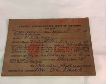 1957 Oklahoma fishing license