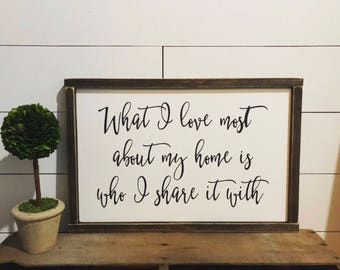 What I love Most about My Home, Wood, Sign, Farmhouse Decor