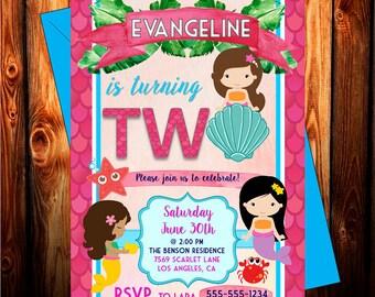 Mermaid BIRTHDAY INVITATION - Little Mermaid - Mermaid Invitations - Mermaid Party - Mermaid Invitation Birthday - Mermaid Invites - Girl
