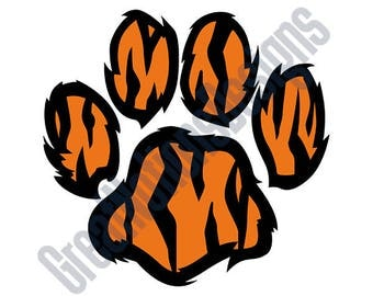 Tiger Paw Print SVG - HTV - Vinyl Cutting Graphic Art