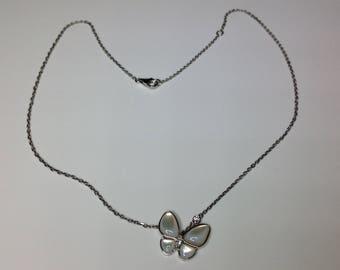 "Estate 18K White Gold 16"" Long 0.17 CTW Diamond Butterfly Necklace 5.3 Grams"
