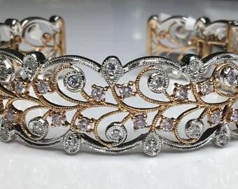 Estate 18K White & Rose Gold 1.03 CTW Diamond Bangle Cuff Bracelet 27.3 Grams