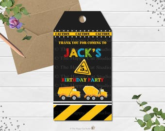 Construction Party Thank You Tags, Gift Tag, Construction Birthday Party, Favor, Transportation, Personalized, Digital, Digger,  Dump Truck