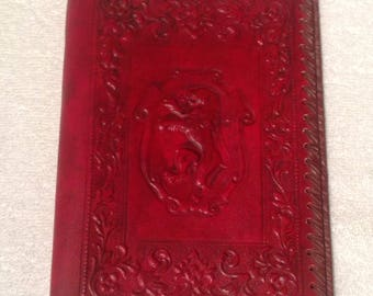 Italian Leather Book Cover, Bible Cover, Royal Lion