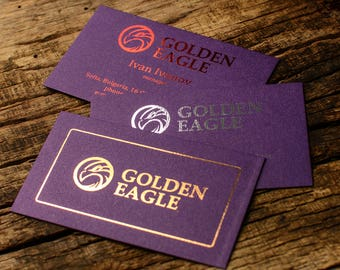 "Luxury business cards, metallic foil print on ""Violette metallic"" card stock paper"