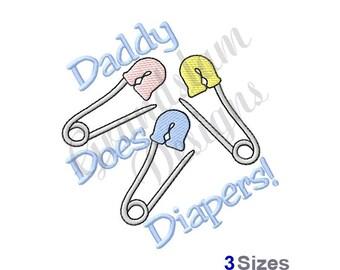 Daddy Diaper Pins - Machine Embroidery Design