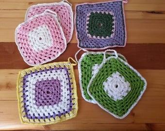 Set of # 6 (six) potholders Granny