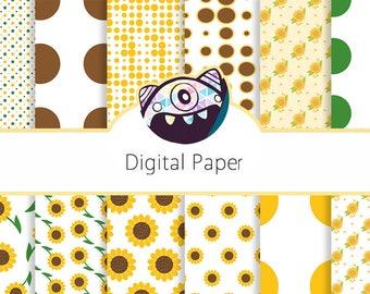 Rustic Sunflower Digital Papers, Sunflowers Scrapbook Paper - Summer Sunflowers Papers - Sunflowers Background - INSTANT DG41