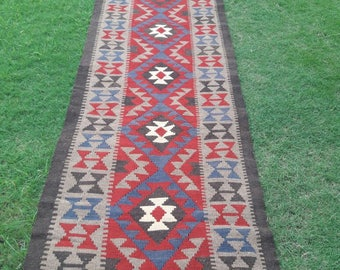 Article # 5223 Marvellous Maimana Hand Woven Kilim Ruuner Rug Double Face Design 390 x 90 cm , 12.8 x 3.0 Feet