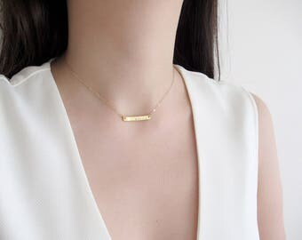 Short bar necklace, name necklace, personalized necklace, dainty necklace , thick gold bar necklace, choose gold or rose gold