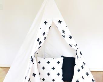 Kids Teepee - White Cross Teepee // teepee tent // Canvas Linen Teepee//Play Tent//Kids Teepee//White