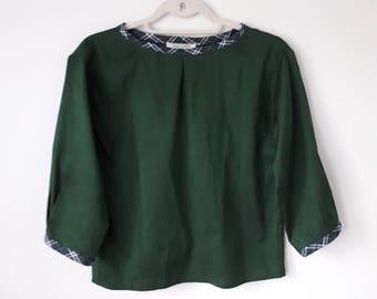 Silk blouse/ peasant blouse/ 1960s blouse/ size M