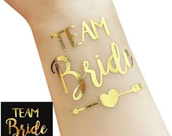 Team bride gold tattoo, hens night tattoo, bachelorette party, tattoo, gold tattoos for bridal party.