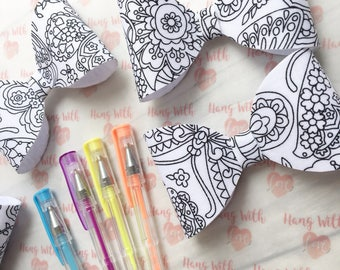 Colour me in bow - bows - crafts - birthday gifts