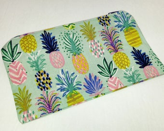 Pineapple Party on Blue Novelty Zipper Pouch - makeup bag; pencil case; gift for her; cosmetic bag; carry all; gadget case; birthday