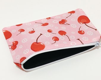 Very Cherry Cherries Novelty Zipper Pouch - makeup bag; pencil case; gift for her; cosmetic bag; carry all; gadget case;