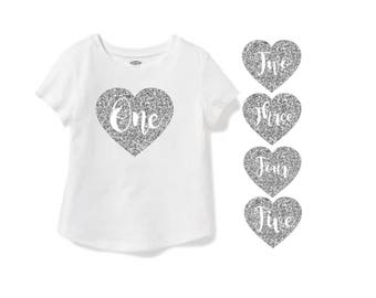 YOU CHOOSE! 1st 2nd 3rd 4th 5th Birthday Shirt Girls Gold Silver Hot Pink Glitter Cake Smash Photo Prop