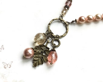 Vintage brass necklace pink pearl necklace