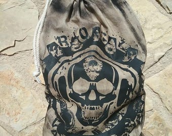 Cotton bag with skull and plectrum print