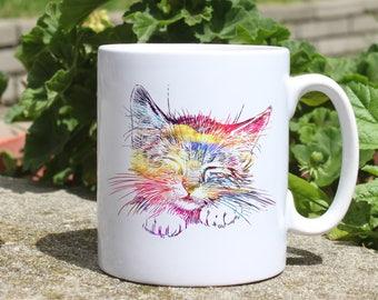Sleepy cat mug - Kitty watercolor mug - Colorful printed mug - Tee mug - Coffee Mug - Gift Idea