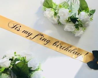 Birthday Party sash, Personalised sash, Birthday Girl, 18th Birthday, 21st Birthday, 30th Birthday, Sash for Birthday, Plus Size, Style B