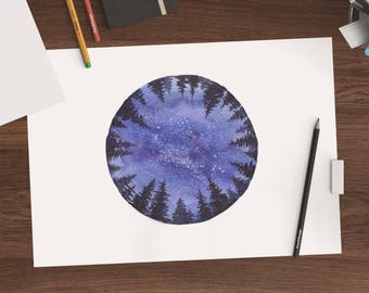 A4 Clean Circle with Trees and Night Sky Original Watercolor Painting