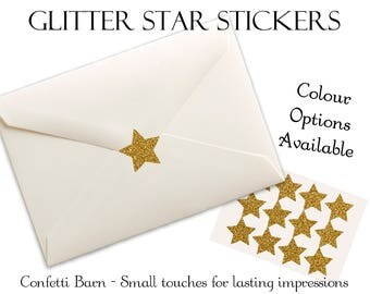 Glitter Star Stickers - Removable Vinyl - Party Invitations - Envelope Sealing Stickers - Planner Stickers #89