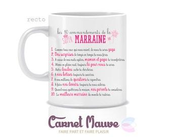"Pink gift GODMOTHER mug ""the 10 commandments"""