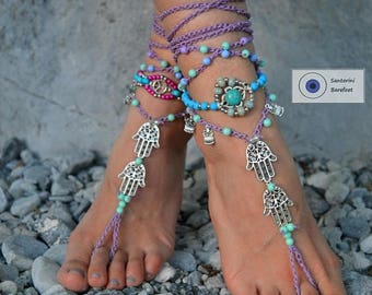 Sales50%off barefoot sandals, beach sandals, foot jewelry ,beach wedding Barefoot sandals, boho shoes gypsy Barefoot Hippie, Foot Jewelry To