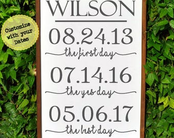 Wedding Important Date Sign, Personalized bridal shower gift for bride and Groom, Wedding Gift Name Sign, Gift from groom to bride gift