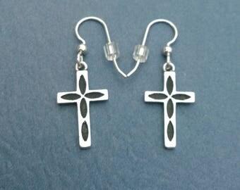 Sterling Silver Cross Dangle Earrings