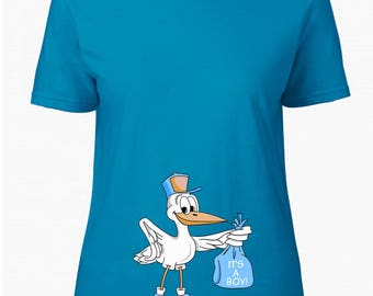 T-SHIRT for pregnancy maternity wear stork carrying a baby boy in a blue bag for pregnant lady CUSTOMIZABLE with name or phrase