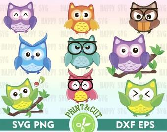 Owl Clipart, Owl Svg, Owl Digital, Cartoon Animal Digital, Animal SVG, Owl Decal Digital Owl Svg Png Dxf Eps Color Owl Silhouette Owl Vector