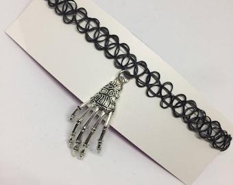 Silver Skeleton Hand Choker