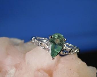 Ladies 1.35 Ct. Pear cut  Tsavorite Garnet Ring Sterling Silver 1920's Filigree Style