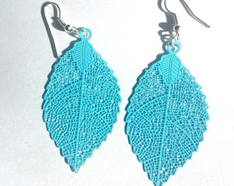 Very light blue leaf earrings