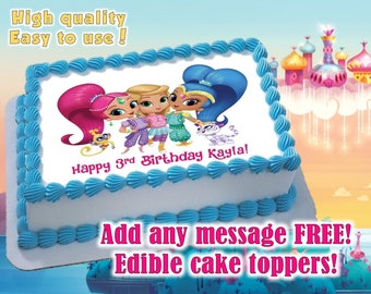 Shimmer And Shine Cake Toppers, Edible Print. Sugar Sheet Decoration  Birthday Party Supplies.