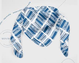 Square scarf, pattern scarf, head scarf, spring scarf, chiffon scarf, satin scarf, resortwear, summer scarf, eco gift wrap, blue scarf
