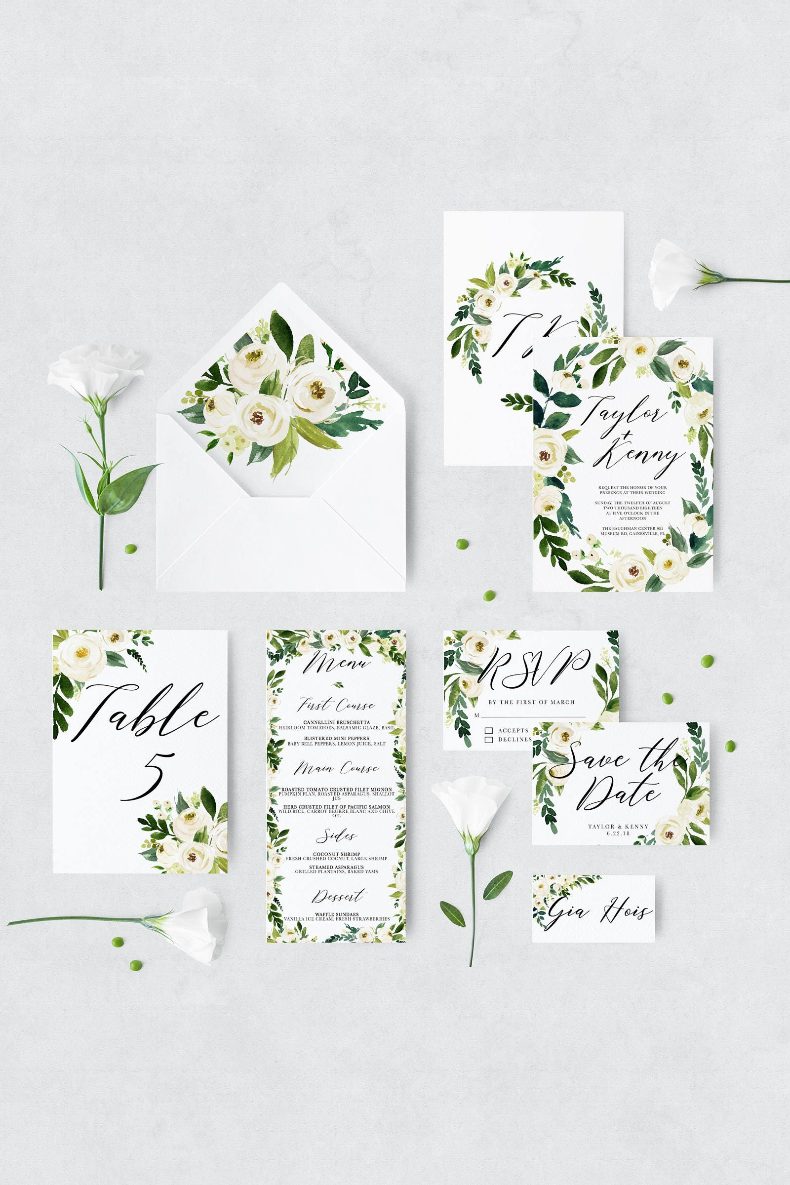 floral printable wedding invitation template