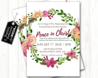 Young Women New Beginnings Invite, Peace in Christ 2018 Mutual Theme, Whimsical Watercolor | Personalized Digital Download 4x6 or 5x7 JPG