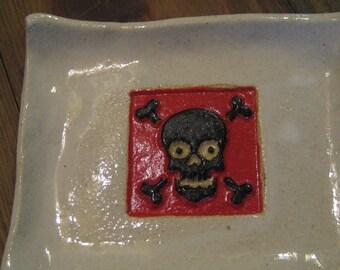 Handmade Pottery Skull Tray