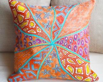 Outdoor pillow cover Orange Linen pillow cover Patio cushion cover art Summer linen pillow case Colorful Pillow Sofa cushion Orange pillow